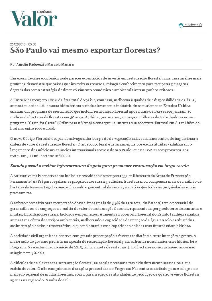 São Paulo vai mesmo exportar florestas?
