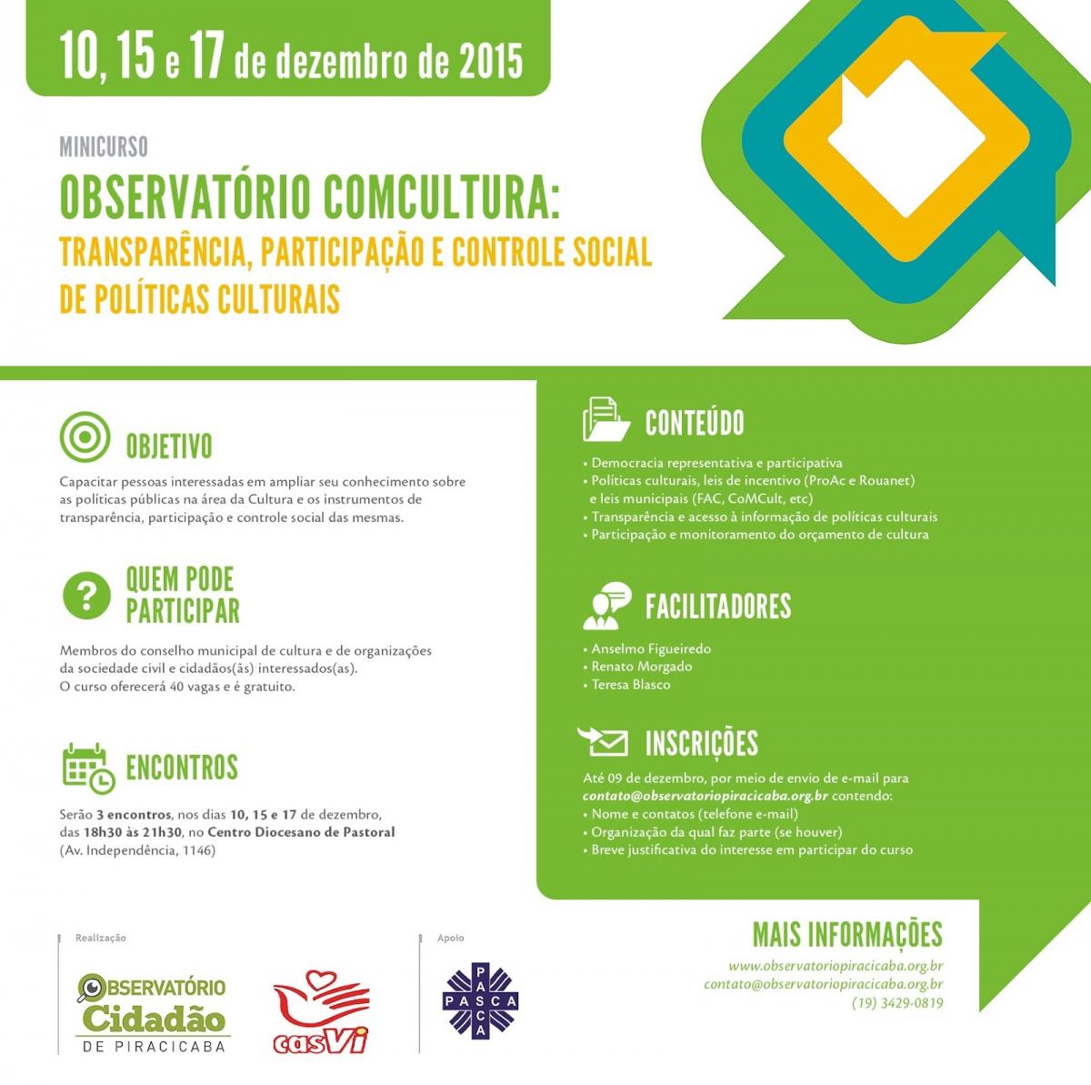 Observatório Cidadão de Piracicaba e Casvi promovem curso sobre participação social nas políticas culturais