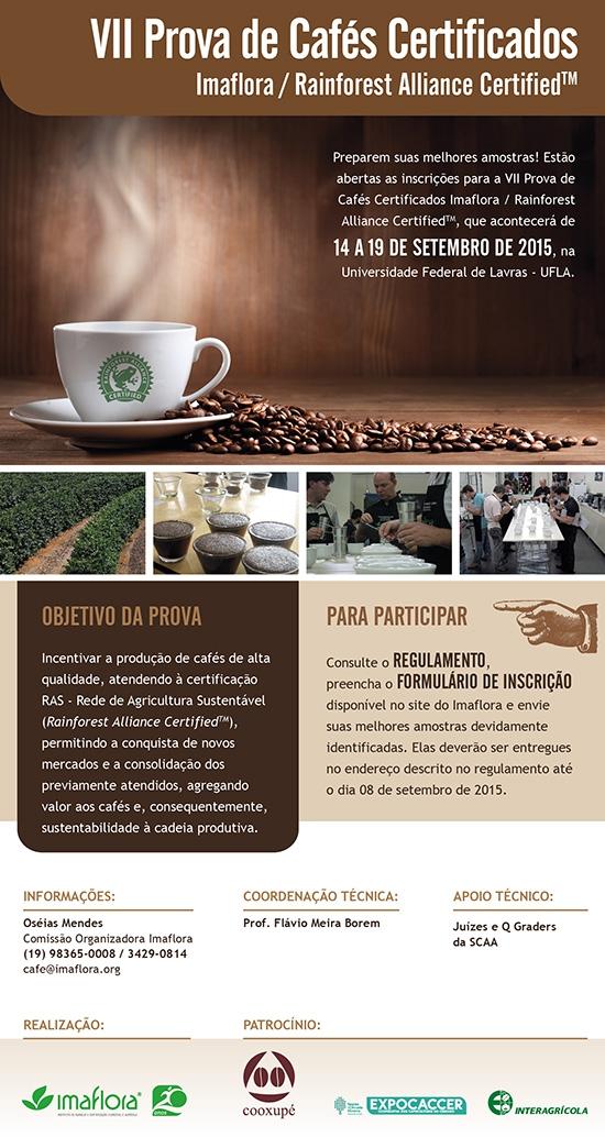 VII Prova de Cafés Certificados Imaflora / Rainforest Alliance CertifiedTM