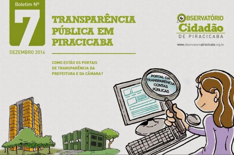 Como está a Transparência Pública em Piracicaba? Confira novo Boletim do Observatório sobre o tema