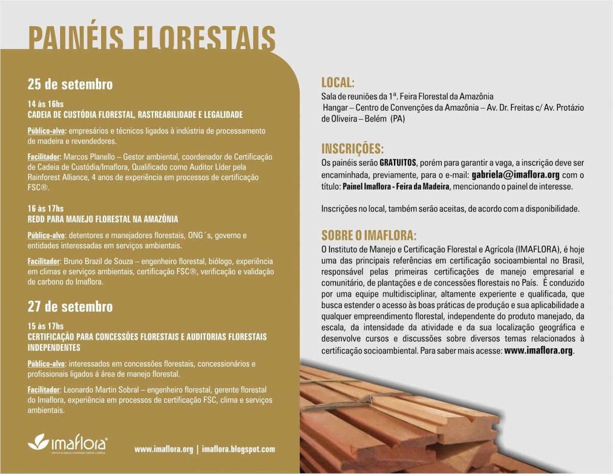 Painéis Florestais - de 25 a 27 de Setembro, em Belém (PA)
