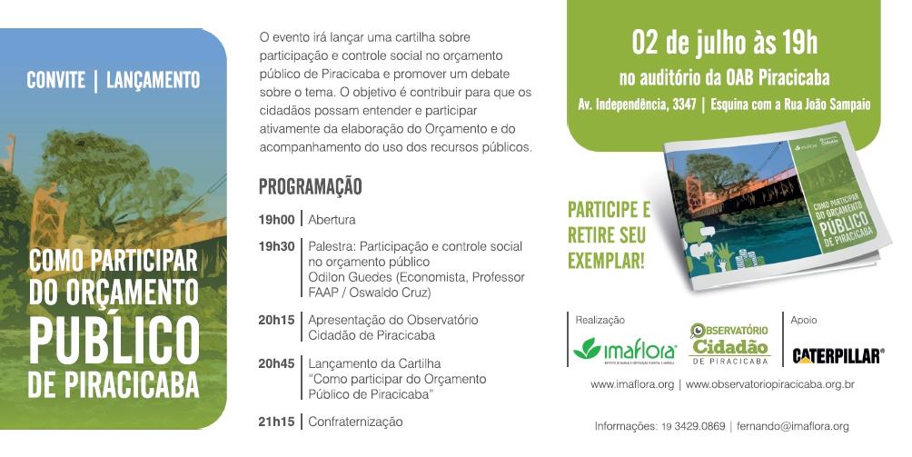 CONVITE | LANÇAMENTO: Como participar do orçamento público de Piracicaba