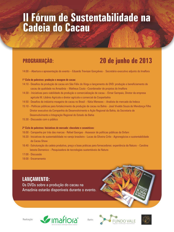 Imaflora promove fórum sobre a Sustentabilidade na Cadeia do Cacau