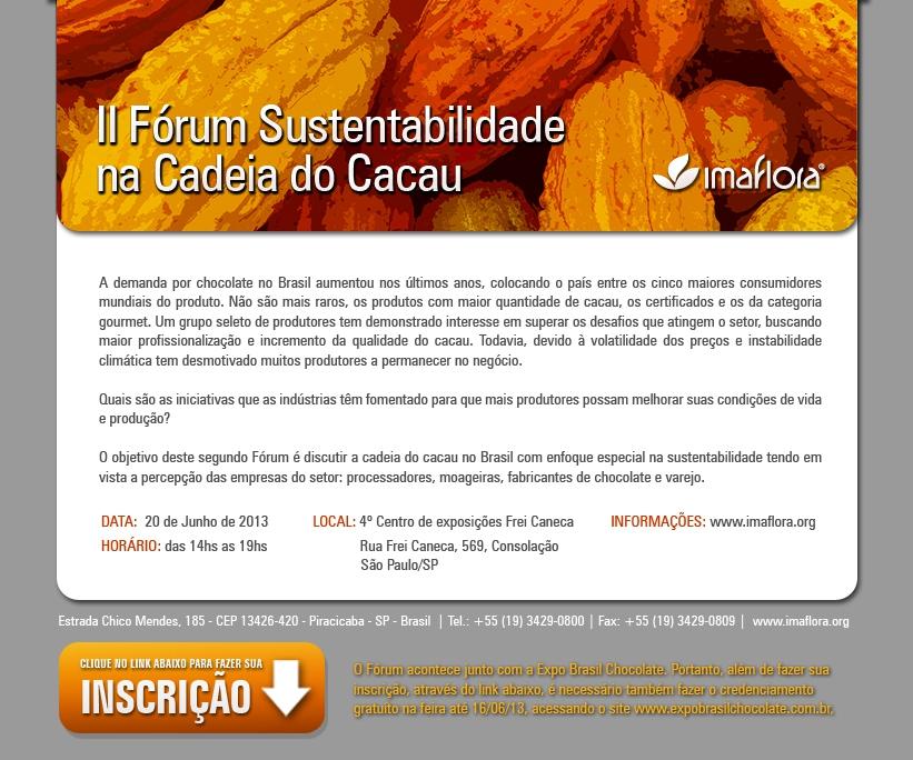 II Fórum Sustentabilidade na Cadeia do Cacau.
