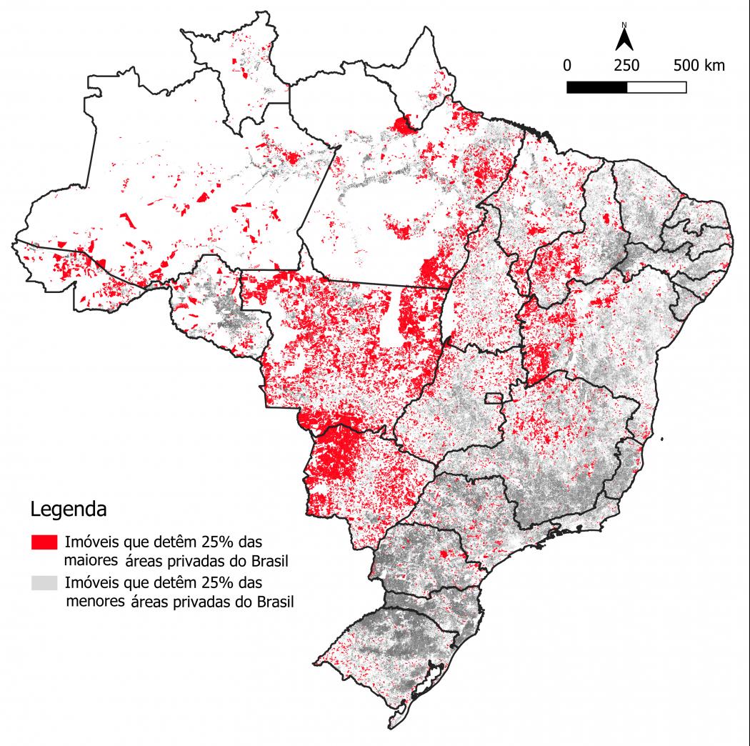 Estudo mostra o mapa da desigualdade da distribuição de terras no Brasil